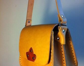 Double Pocket Leather handbag-Double pocket leather handbag