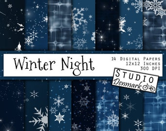 """Night Sky Digital Paper - """"Winter Night"""" Christmas Snowflakes and Stars / Stary Night Winter Bokeh Backgrounds - Instant Download"""