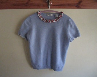 Repurposed Cashmere Sweater - Short sleeve sweater - Size S sweater