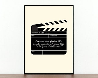 Pedro Almodovar, Movie Poster, ClapperBoard, Film Quote, Filming, Film Typography, Movie Print, Cinema Quote, Loneliness, Movie Lovers