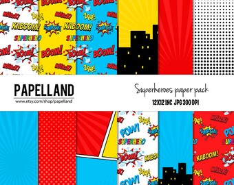 "Superheroes digital paper pack: ""SUPERHERO PAPER PACK""  super hero for scrapbooking,Making Cards, Tags and Invitations / Instant Download"