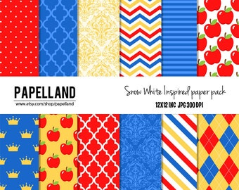 Snow white inspired digital paper pack for scrapbooking, Making Cards, Tags and Invitations / Instant Download