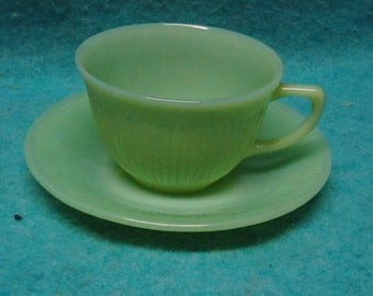 Jadite Fire King Glass Jane Ray Cup and Saucer Set