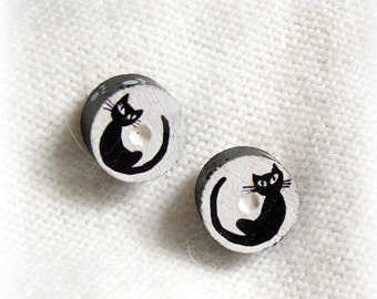 HAND PAINTED black and white CAT stud earrings