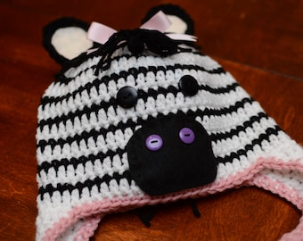 Crochet Zebra Hat- Girl
