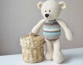 Crochet Teddy Bear pattern - White bear toy with stripes - instant download