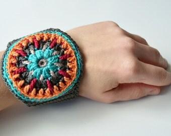 Crocheted Cuff - Wrap Bracelet with colorful mandala - original bangle - gift
