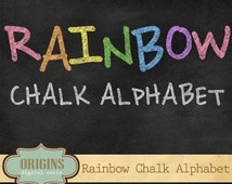 Rainbow Chalkboard Alphabet Clipart - Chalk Style Letters and Numbers PNG Clip art Set