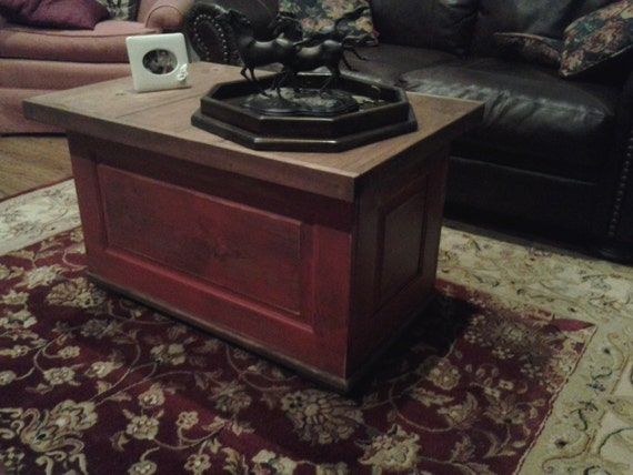 distressed red coffee table 36 x 24 top with by theequestrianshop. Black Bedroom Furniture Sets. Home Design Ideas