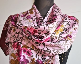 Vintage roses silk long scarf / Pink green marsala / oblong scarf