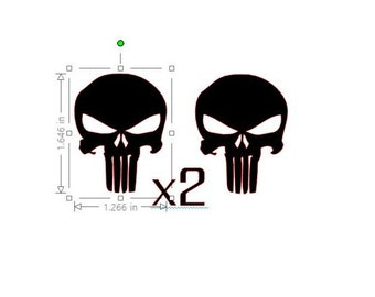 "x2 Custom High Quality Decals (PUNISHER)  1.5"" x 1.5"""
