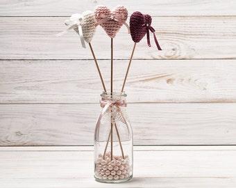 Wedding Cake Topper Crochet Hearts Wedding Centerpiece Vase Decor Birthday Table Decoration Party Sticks