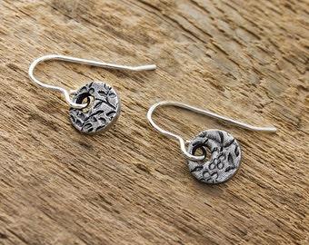 Silver Flower Earrings - Silver Floral Earrings - Flower Drop Earrings - Floral Drop Earring - Sterling Silver Earring - Flower Disc Earring