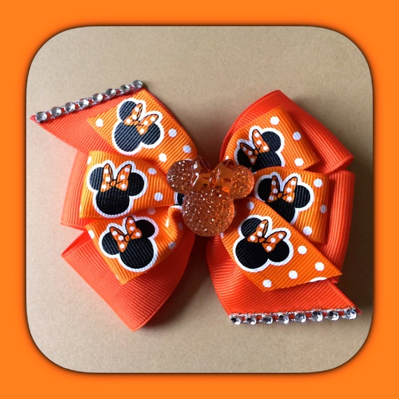 hair bows style orange minnie mouse pinwheel style hair bow by 8915 | il 570xN.712359590 fytp