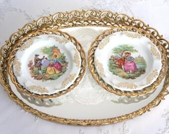 Vintage Fragonard Porcelain Wall Plates,Cameo Picture Frame