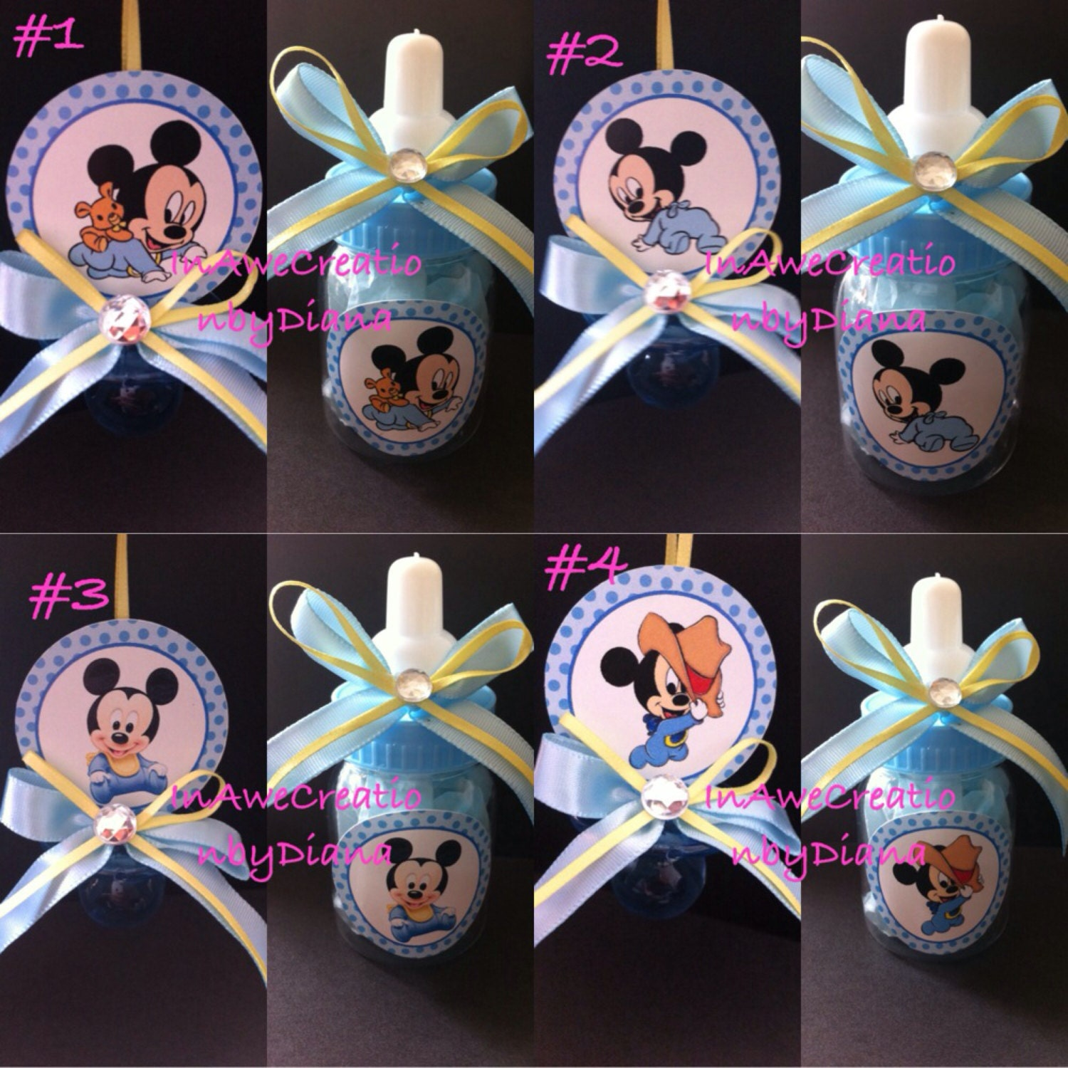 12 Mickey Mouse Baby shower Pacifier and or 12 Bottle MIckey