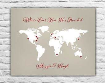 Where our Love Has Traveled, Wedding Gift, Personalized Map Art Print, Traveling Family, World Travel Couple, Anniversary, Honeymoon, 8x10