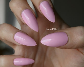 Pink stiletto nails! Matt or glossy. Set of hand painted nails