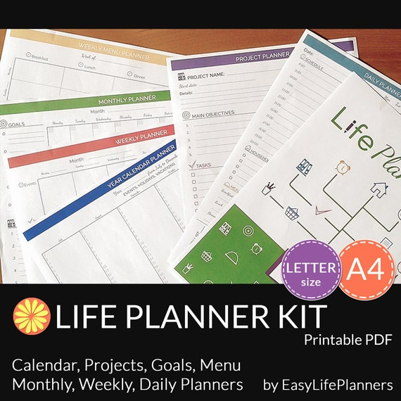 Weekly Life Calendar : Life planner kit printable pdf daily weekly by