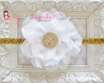 White and Gold Headband - Gold Glitter Headband - White Chiffon Flower Headband - White Lace Flower Headband - Baby Girl Headband