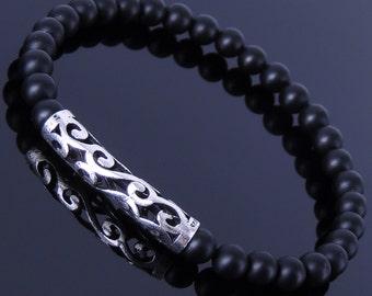 Men's Women Matte Black Onyx Sterling Silver Bracelet 925 Celtic Lucky Charm DiyNotion Handmade BR304