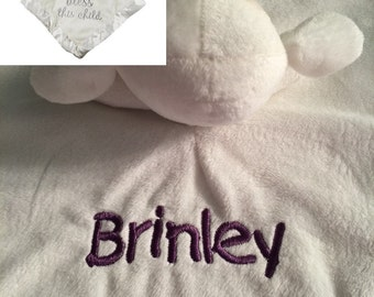 Stepping Stones Bless This Child Lamb WHITE Security Blanket - Monogrammed