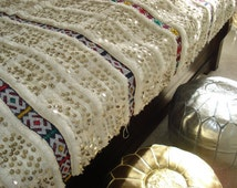 Metallic Gold and Silver Combo Moroccan Leather Poufs/Ottomans- Sold UN-STUFFED