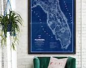 """Map of Florida 1839 Old Florida map. Large vintage map of Florida up to 36x48"""" (90x120 cm) in blue or beige - Limited Edition - Print 43"""