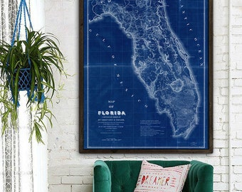 """Map of Florida 1839 Old Florida map. Large vintage map of Florida up to 48x64"""" Florida poster in blue or beige - Limited Edition of 100"""