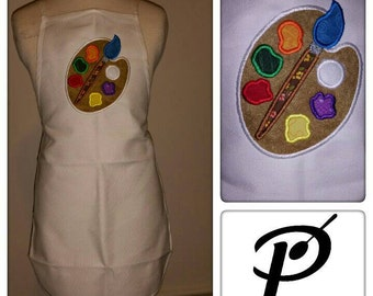 Paint palette applique inspired kids apron for painting, cooking, art and crafts and gardening