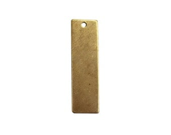 Vertical Rectangle / Nameplate Brass Stamping Blanks – Charm / Pendant / Tag - Pkg of 8 pcs