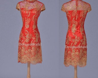 Chinese Short Prom Dress,Cheongsam Mini Dress,Fishcale Hem Dress, Embroidery Short Dress,Hademade Women Clothing