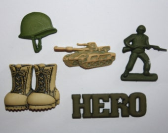 Army Silicone Mold Set Military Candy Chocolate Fondant Resin Fondant Cake Pop Mould Flexible Cake Decorating Cupcake Topper Baking Supplies