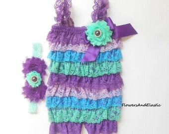 Purple lace Romper,Baby girls Romper,Petti romper, headband and petti lace romper SET,baby headbands,baby girl headband,girls petti romper