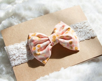 Pink and Metallic Gold Hair Bow