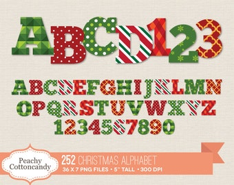 BUY 2 GET 1 FREE 252 Digital Christmas Alphabet Clip Art / Christmas Alphabet Clipart / digital alphabet letters & numbers commercial use ok