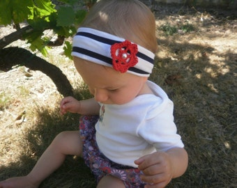 Headband hair baby girl large marine and Red crochet flower
