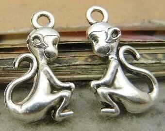 silver tibetan monkey charms  8 pcs  11x21 mm monkey pendant 3D charm
