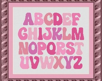 PINK ALPHABET/  -Counted cross stitch pattern /grille point de croix  ,Cross Stitch PDF, Instant download , free shipping