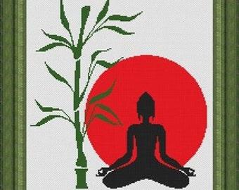 YOGA ZEN meditation bambou- Counted cross stitch pattern /grille point de croix , PDF, Instant download