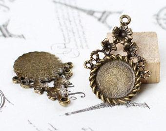 10Pcs Diameter bronze base Round gemstones glass bottom bracket for Jewelry Make