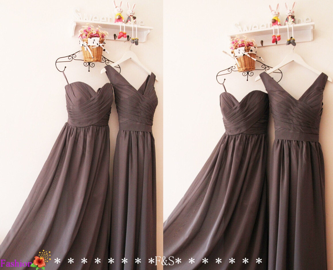 Charcoal Gray Bridesmaid DressCustom Grey V neck by