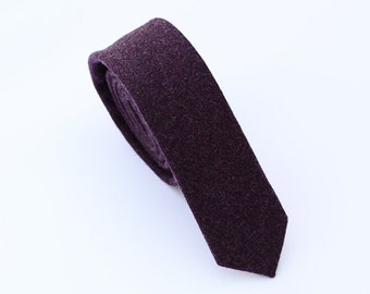 Dark Purple Wool Tie.Purple Skinny Ties.Purple Neckties for Men.Plum Tie. Plum Neckties.Purple Wedding Ties.Groomsmen Ties.Gifts for Men