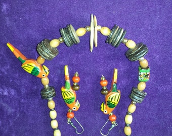 Hand painted Wood Parrot Necklace with matching Pierced Earrings