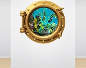 Wall Decal Aquarium Fish Tank Full Colour Under the Sea Brass Gold Porthole Wall Sticker Ocean