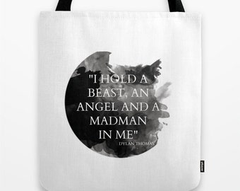 Dylan Thomas Bag - Dylan Thomas Quote Tote Bag - Book Bag - Eco-friendly Bag - Shopping Bag - Graphic Tote