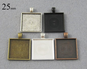 25 Pieces 1 inch SquarePendant Tray, 25mm Square Cabochon Setting in Silver, Bronze, Copper, Antique Silver and Black