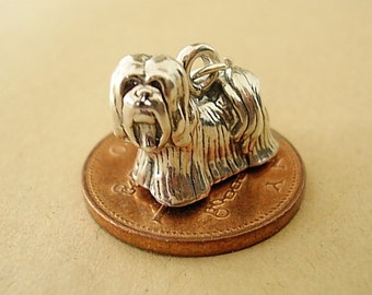 Sterling Silver Lhasa Apso Dog Charm