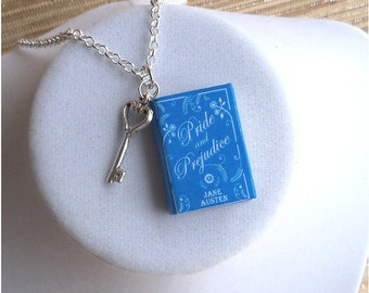 Pride And Prejudice with Tiny Key  Charm - Miniature Book Necklace