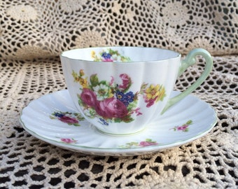Shelley Floral Green Teacup